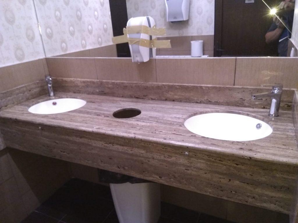 Blat de baie pentru restaurante din Travertin Noce