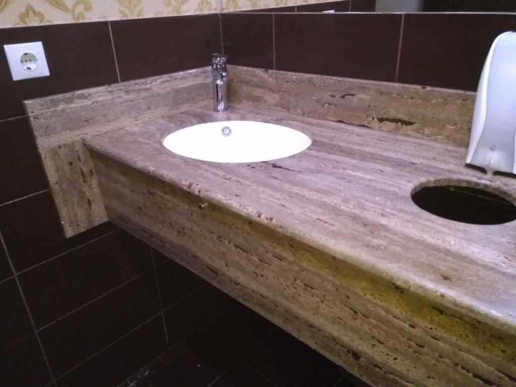 Blat de baie pentru restaurante din Travertin Noce cu chiveta integrata